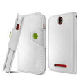 IMAK R64 book leather Case support flip Holster Cover for HTC T528t One ST - White