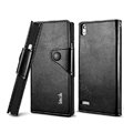IMAK R64 book leather Case support flip Holster Cover for Huawei P6 - Black