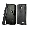 IMAK R64 book leather Case support flip Holster Cover for TCL S820 - Black