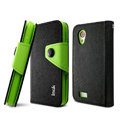 IMAK cross Flip leather case book Holster folder cover for HTC T328t Desire VT - Black