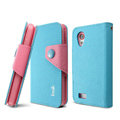 IMAK cross Flip leather case book Holster folder cover for HTC T328t Desire VT - Blue