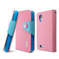 IMAK cross Flip leather case book Holster folder cover for HTC T328t Desire VT - Pink