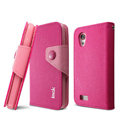 IMAK cross Flip leather case book Holster folder cover for HTC T328t Desire VT - Rose