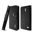 IMAK cross Flip leather case book Holster holder cover for TCL S820 - Black
