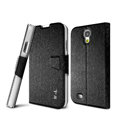 IMAK golden silk book leather Case support flip Holster Cover for Samsung GALAXY S4 I9500 SIV - Black