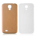 Leather Case PC Battery Back Cover Housing For Samsung I9500 GALAXY SIV S4 - Khaki
