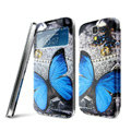 IMAK Flip Leather Case Holster Painting Battery Cover for Samsung I9190 GALAXY S4 Mini - Butterfly