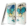 IMAK Flip Leather Case Holster Painting Battery Cover for Samsung I9190 GALAXY S4 Mini - Flower
