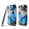 IMAK Flip Leather Case Holster Painting Battery Cover for Samsung I9200 Galaxy Mega 6.3 - Butterfly
