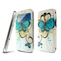 IMAK Flip Leather Case Holster Painting Battery Cover for Samsung I9200 Galaxy Mega 6.3 - Flower