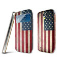 IMAK Flip Leather Case Holster Painting Battery Cover for Samsung I9200 Galaxy Mega 6.3 - USA American Flag