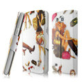 IMAK Flip Painting leather Case support Holster Cover for Samsung i9260 GALAXY Premier - White