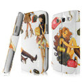 IMAK Flip Painting leather Case support Holster Cover for Samsung i939D GALAXY SIII - White