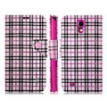 IMAK Flip leather case plaid pattern book Holster cover for Samsung I9200 Galaxy Mega 6.3 - Pink