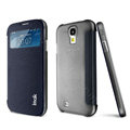 IMAK Shell Flip Leather Case Holster Cover Skin for Samsung I9190 GALAXY S4 Mini - Black