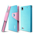 IMAK cross Flip leather case book Holster cover for BBK vivo Y19t - Blue