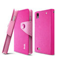 IMAK cross Flip leather case book Holster cover for BBK vivo Y19t - Rose