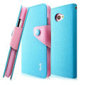 IMAK cross Flip leather case book Holster cover for HTC Butterfly S 901e - Blue
