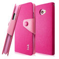 IMAK cross Flip leather case book Holster cover for HTC Butterfly S 901e - Rose