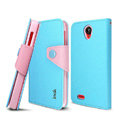 IMAK cross Flip leather case book Holster cover for Lenovo S820 - Blue