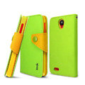 IMAK cross Flip leather case book Holster cover for Lenovo S820 - Green
