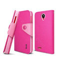 IMAK cross Flip leather case book Holster cover for Lenovo S820 - Rose
