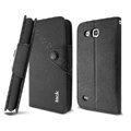 IMAK cross Flip leather case book Holster cover for Samsung I869 Galaxy Win - Black