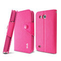 IMAK cross Flip leather case book Holster cover for Samsung I869 Galaxy Win - Rose