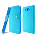 IMAK cross Flip leather case book Holster cover for Samsung I9150 Galaxy Mega 5.8 - Blue