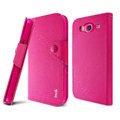 IMAK cross Flip leather case book Holster cover for Samsung I9150 Galaxy Mega 5.8 - Rose