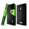 IMAK cross Flip leather case book Holster holder cover for Nokia Lumia 925T 925 - Black