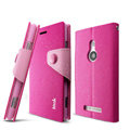 IMAK cross Flip leather case book Holster holder cover for Nokia Lumia 925T 925 - Rose