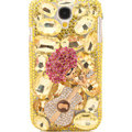 Bling Crystal Cover Rhinestone Diamond Case For Samsung GALAXY S4 I9500 SIV - Gold