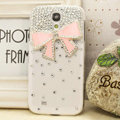 Bowknot diamond Crystal Cases Bling Hard Covers for Samsung GALAXY S4 I9500 SIV - Pink
