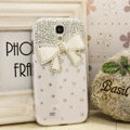 Bowknot diamond Crystal Cases Bling Hard Covers for Samsung GALAXY S4 I9500 SIV - White