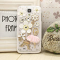 Camellia diamond Crystal Cases Bling Hard Covers for Samsung GALAXY S4 I9500 SIV - White