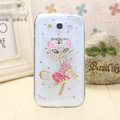Fox diamond Crystal Cases Bling Hard Covers for Samsung i9080 i9082 Galaxy Grand DUOS - White