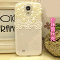 Pearl diamond Crystal Cases Bling Hard Covers for Samsung GALAXY S4 I9500 SIV - White