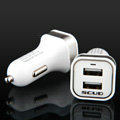 Scud SC-622 Dual USB Car Charger Universal Charger for HUAWEI Ascend G700 - White