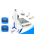 Ozio Auto Dual USB Car Charger Universal Charger for Samsung GALAXY S4 I9500 SIV - White