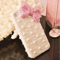 Bling Bowknot Crystal Cases Rhinestone Pearls Covers for iPhone 5C - Pink
