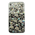 Bling Hard Covers Skulls diamond Crystal Cases Skin for iPhone 5C - Black