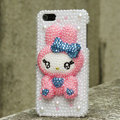 Bling Rabbit Crystal Cases Rhinestone Pearls Covers for iPhone 5C - Pink