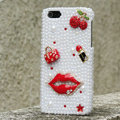 Bling Red lips Crystal Cases Rhinestone Pearls Covers for iPhone 5C - White