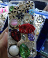Bling S-warovski crystal cases Ballet girl Bowknot diamond cover for iPhone 5C - Red
