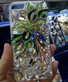 Bling S-warovski crystal cases Flower diamond cover skin for iPhone 5C - Green