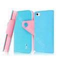 IMAK cross leather case Button holster holder cover for iPhone 5C - Blue