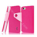 IMAK cross leather case Button holster holder cover for iPhone 5C - Rose
