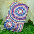 Luxury Bling Holster Covers Round Crystal diamond Cases for iPhone 5C - Blue