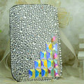 Luxury Bling Holster Covers diamond Crystal leather Cases for iPhone 5C - White